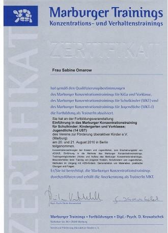 Zertifikat Trainerin MKT